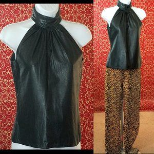 CONTEMPO CASUALS VTG leather sleeveless blouse S
